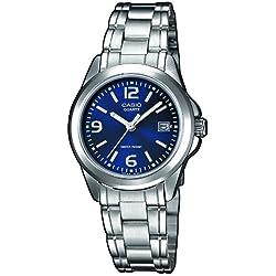 Casio LTP-1259PD-2A - Classic - Women's Analogue Quartz Watch - Blue Dial - Grey Steel Strap