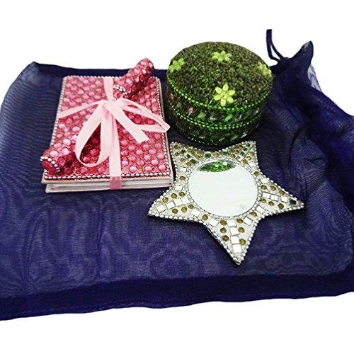 Decorative Box indiani fatti a mano contenitore di monili di materiale in rilievo donne sacchetti cosmetici specchio da tavolo in stile Vintage Top antico dono specchio casa molto il regalo di