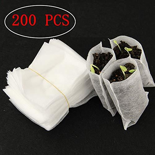 Kalolary 200 Pcs Biodégradable Non-tissé Pépinière Sacs Plantez Cultiver l'environnement Sacs Tissu Plants De Pépins Plantes Pouch Maison Jardin Fourniture