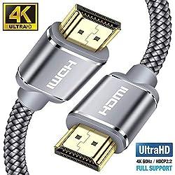 Câble HDMI 4K 3m - Snowkids Câble HDMI 2.0 Haute Vitesse par Ethernet en Nylon Tressé Supporte 3D/ Retour Audio - Cordon HDMI pour Lecteur Blu-Ray/Xbox/Xbox 360/ PS3/ PS4/ TV 4K Ultra HD/Ecran - Gris