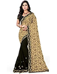 Riva Enterprise Women's Georgette Embroidred Half And Half Patten Desinger Pallu Black And Cream Saree(RIVA131_)