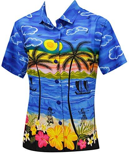 Blusas-Camisa-Hawaiana-Para-Mujer-Desgaste-de-La-Playa-de-Manga-Corta-Traje-de-Bao-Azul-XL
