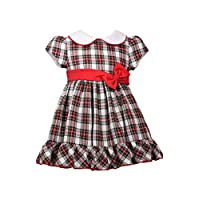 Bonnie Jean Baby Girls Short Sleeve Holiday Christmas Dress - Traditional Plaid Cotton - - 6-9 Months