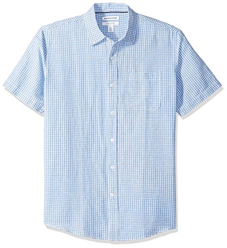 Amazon Essentials Herren-Hemd, Kurzarm, reguläre Passform, bedruckt, aus Leinen, Blue Gingham, US XL (EU XL - XXL)