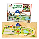 AiSi Holz Pädagogisches Bau Konstruktionsspielzeug Holzeisenbahn Autorennbahn Rennbahn Bahnset mit Brücke Straße Lernspielzeug Holzspielzeug Puzzle für Baby Kleinkind ab 3 Jahre