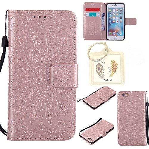"""Preisvergleich Produktbild für Iphone 6s (4,7"""") Geprägte Muster Handy PU Leder Silikon Schutzhülle Handy case Book Style Portemonnaie Design für Apple Iphone 6s (4,7"""") + Schlüsselanhänger456 (8)"""