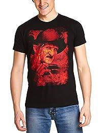 14cc7d02ce Elbenwald Pesadilla EN La Camiseta de La Calle del Olmo Masculino Freddy  Krueger de Algodón Negro