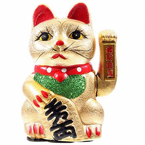 Maneki neko waving cat, eyes open 21cm