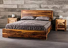 Red Wood Sheesham Wood King Size Bed for Living Room- Walnut Brown