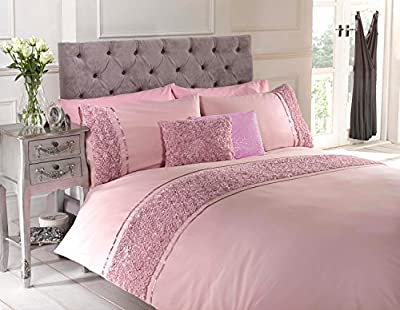Pink Double Duvet Quilt Cover Bed Set Bedding Raised Rose Ribbon Band Polycotton - cheap UK light store.