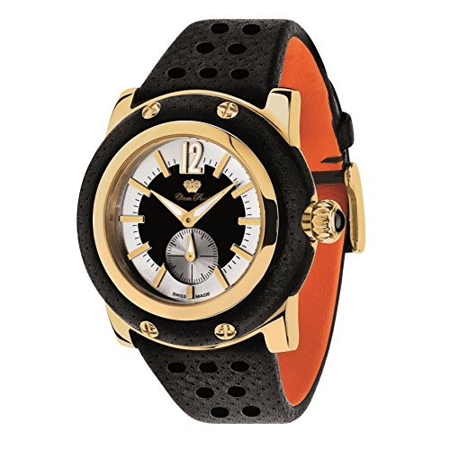 Glam Rock Unisex Miami 46mm Black Leather Band Gold Plated Case Swiss Quartz White Dial Watch GR10052N