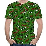Cuello Redondo Manga Corta Camiseta Rana impresión 3D Color XXXL,Funky Camisa Hawaiana Se?ores Manga Corta Bolsillo Delantero