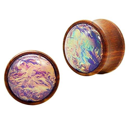 coppia di legno candele con grandi bling resina opal davanti i piercing gioielli (Grandi Piercing Gauge)