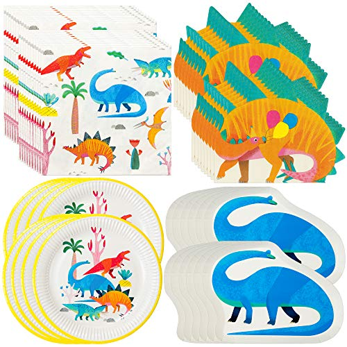 Talking Tables Dinosaurier-Partyzubehör und Dekorationen, Dinosaurier-Papierteller und Servietten (Baby-dusche-papier-tischsets)