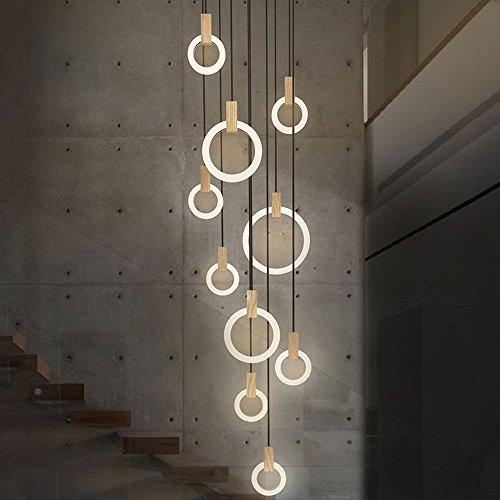 ZMH LED Pendelleuchte Kronleuchter Hängeleuchte 142W 10-Led Ring Pendellampe Hängelampe Treppenleuchte aus Holz und Acryl geeignet für Halle, Wohzimmer, dreh Treppe, Schlafzimmer, Hotel, Cafe