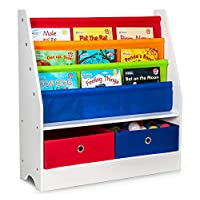 Fineway.... Childrens Colourful 2 Drawer Toy Container Storage Boxes with 3 Tier Sling Book Storage Organiser Book Rack Shelf Shelves Unit