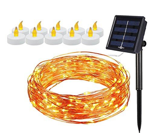 [Bonus-Pack] Solarbetriebene 100 LEDs, 10 m Lichterkette und 10 batteriebetriebene flammenlose LED-Kerzen, Sternenkette, Kupferdraht, Lichterkette Ambiente Beleuchtung Garten Weihnachten Party -