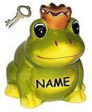 Unbekannt Frosch mit Krone / Froschkönig  - Spardose - incl. Name - aus Porzellan / Keramik - Sparschwein lustig witzig - Prinz - Traummann / Prinzen - Liebe - für E..