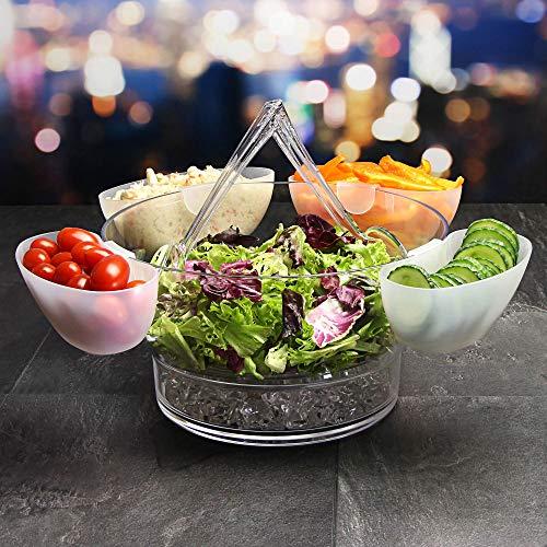 Couverts à salade sur glace - Bol à salade en acrylique avec 4 Côté Serveur vaisselle et couverts à salade - Bol à salade
