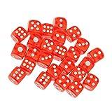 25pz 12mm Traslucidi Sei Pronti Lati Giochi Di Dadi D6 D & D Rpg - Rosso