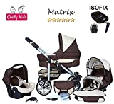 Chilly Kids Matrix II Kinderwagen Safety-Set (Autositz & ISOFIX Basis, Regenschutz, Moskitonetz, Schwenkräder) 05 Schoko & Creme