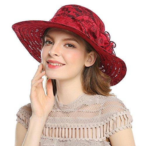 WELROG Damen Derby Hochzeit Diskette Hut - Tee Party Hut Sommer Große Blume Sonnenhüte mit Breit Rand (Weinrot #2) (Lass Die Kirche Die Kirche Sein)