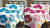 #8: Renown Beautiful Blue & Pink Flower Prints Reversible Single Bed AC Blanket / Dohar Combo Set Of 2 Pc