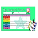 Happy Learners Childrens MERMAID Reward Chart, 90 Star Stickers Reusable Pen - For potty training, good behaviour, chores, household tasks