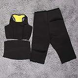 Erduo Qualitäts Ankünfte 3Pcs / Set heißer Former, der Fitness Sportswear Taillengurt Hosen-Weste-DREI PC abbildet Satz-Körper-Former - Schwarzes und Gelb M