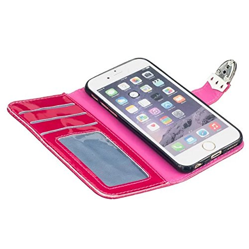 iPhone Case Cover IPhone 6S 6 Case, Grid Lines Structure en treillis Premium PU Housse en cuir Housse Silicone Inner Cover Solid Case Case Couleur Portefeuille Avec Photo Fenêtre Pour Apple IPhone 6S  Red