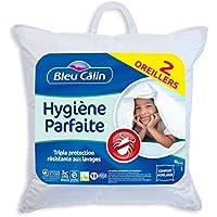 Bleu Câlin Lot de 2 Oreillers Hygiène Parfaite Anti-Acariens Blancs 60x60 cm OAEH