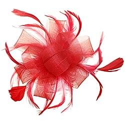 FORLADY Hilos de cáñamo Accesorios para el cabello Cabeza de pluma Diadema de malla de flores Vestido salvaje Mostrar Novia Tocado Sombrero de cóctel Sombrero de clip de pelo de flor