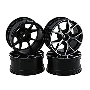 BQLZR Remote Control Aluminum Alloy 5 Spoke Y Shape Car Tires, Silver (Pack of 4)