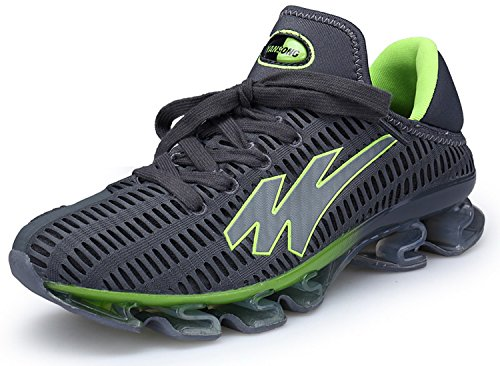 JOOMRA Herren Sneaker Trekking Running Fitness Laufschuhe Air Sohle Low Top Schuhe Mesh Jogging Männer Turnschuhe Grün Grau 45 EU (Mesh-schuhe Grau)