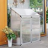 HomeMiYN Mini Serre de Jardin Serre de Balcon Polycarbonate en Alliage d'Aluminium 130 X 52 X 140cm Argenté
