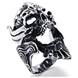 Adisaer Ringe Verlobung Ring Weißgold Herren Punk Schwarz Silber Hohl Ochse Kopf Tier Ring Größe 57 (18.1) Gothic Bandringring Hip Hop Weihnachten Ringe Für Herrn