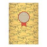 Kartenkaufrausch 1 Cooles Dino DIN A4 Schulheft, Schreibhefte mit verschiedenen Dinosauriern auf gelb Lineatur 20 (blanko Heft)