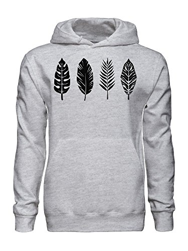 Palm Leaf Bird Feather Graphic Men's Hooded Sweatshirt Extra Large