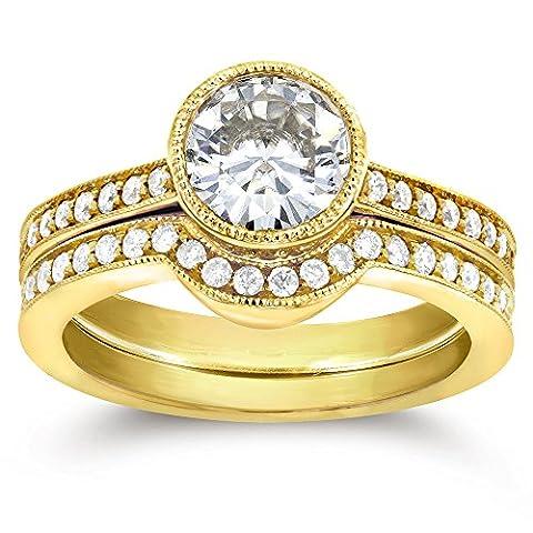 Art Deco et anneau de diamant en or 9Lot de