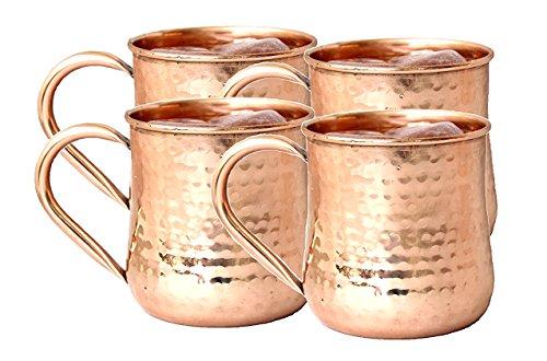 Parijat Handwerk Kupfer Moscow Mule Becher handgefertigt reines Kupfer gehämmert Moscow Mule Becher Tassen Kapazität 16Unze Kupfer Griff Tasse Set von 4