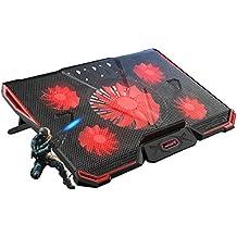 EletecPro Laptop Kühler Externe Kühlung Lüfter Pad Für 12-17 Zoll Notebook, 5 Ruhige Fans mit roten LEDs, 2 USB Ports, einstellbare Stand Mount Model Kühlpad Kühlmatte