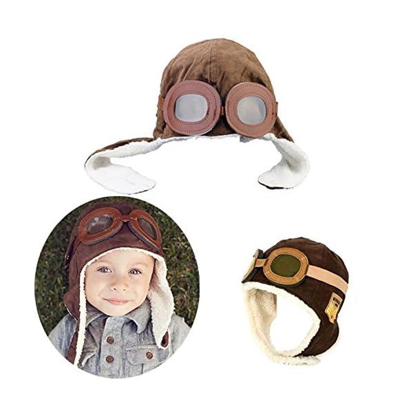 Gorro de aviador para bebés niños, cálido, diseño con de gafas de protección marrón marrón 2