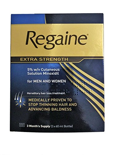 Regaine Solution 3 Month Supply - 3 x 60ml 5% Minoxidil Hair Regrowth Solution Pack For Men and Women