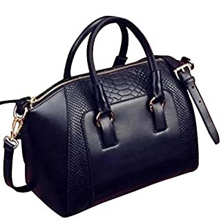 Amybria Women Faux Leather Handbag Shoulder Messenger Satchel Tote Bag Black
