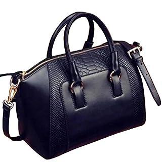 Amybria Women Faux Leather Handbag Shoulder Messenger Satchel Tote Bag Black