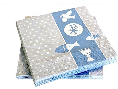 20 Servietten Symbole Blau Kommunion Konfirmation Taufe Tischdeko