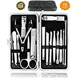 HudaBeauty Manicure Pedicure 16 Tools Set Nail Clippers Stainless Steel Professional Nail Scissors Grooming Kits, Nail Tools with Leather Case