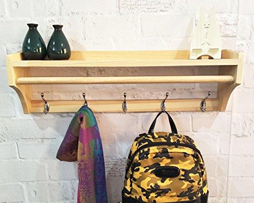 Manteau de support mural en bois solide cintre 5 crochets multifonctionnel chambre ouverte simple étagère (5 crochets = 65,5 cm, Couleur du bois)