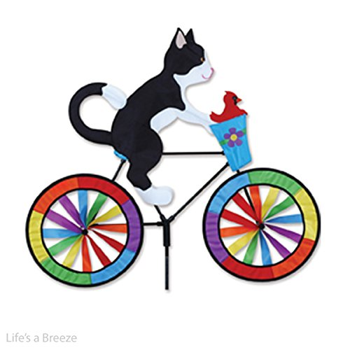Katze Garten Wind Spinner. Tuxedo Cat on a Bike Garden Spinner - Möbel Tuxedo