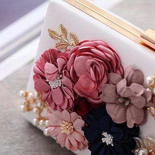 Damen Clutches Abendtaschen Handmade Kupplung Umhängetasche mit Langer Kette Weiß